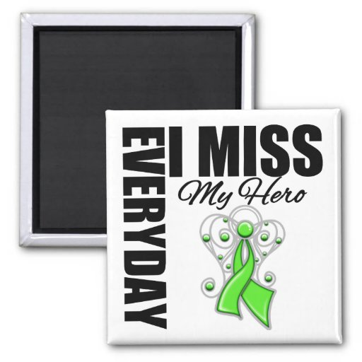 Everyday I Miss My Hero Lymphoma 2 Inch Square Magnet