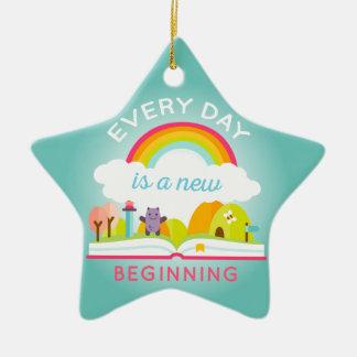 Everyday is a new beginning cute rainbow ceramic ornament