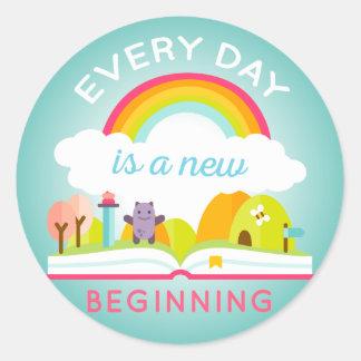 Everyday is a new beginning cute rainbow classic round sticker