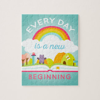 Everyday is a new beginning cute rainbow jigsaw puzzle