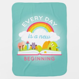 Everyday is a new beginning cute rainbow stroller blanket
