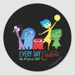 Round Sticker with Every Day is Full of Emotions from Disney Pixar's Inside Out design