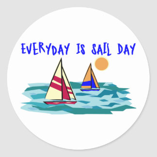 Everyday Is Sail Day Round Stickers