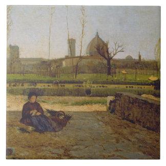 Everyday Scene, near Florence, c.1865 Tile
