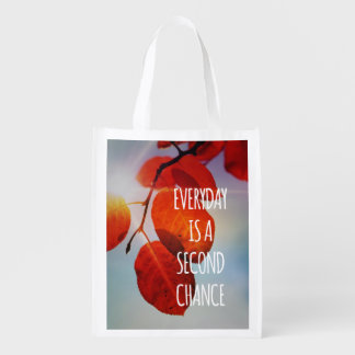 Everyday Second Chance Autumn Leaves Inspirational Reusable Grocery Bag
