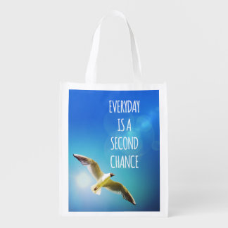 Everyday Second Chance Seagull Inspirational Quote Grocery Bag