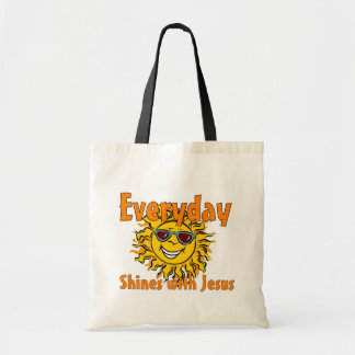 Everyday shines with Jesus Tote Bags