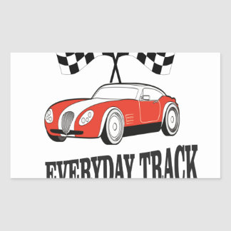 everyday track red rectangular sticker