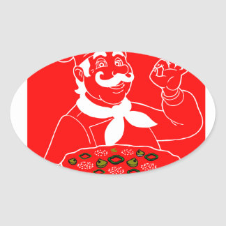 Everyone Can Cook Pizza Oval Sticker