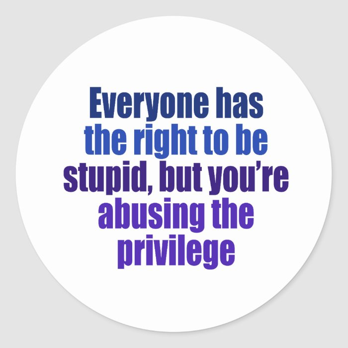 Everyone has the right to be stupid classic round sticker