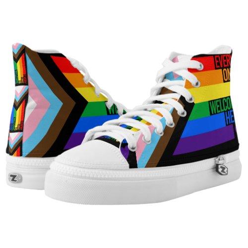 Everyone is Welcome Here (Progress Pride) Flag High-Top Sneakers