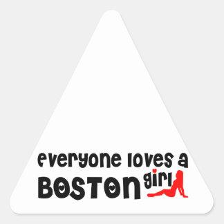 Everyone loves a Boston girl Triangle Sticker