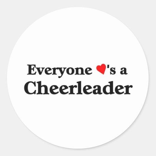 Everyone loves a cheerleader classic round sticker