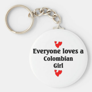 Everyone loves a Colombian Girl Basic Round Button Keychain