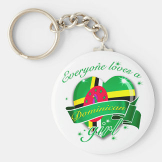 Everyone Loves A Dominican Girl Basic Round Button Keychain