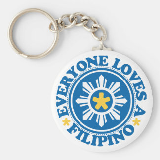 Everyone Loves a Filipino - Blue Basic Round Button Keychain