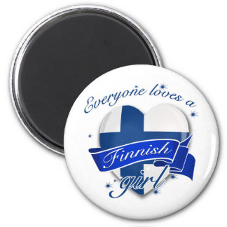 Everyone loves a Finnish Girl 2 Inch Round Magnet