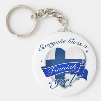 Everyone loves a Finnish Girl Basic Round Button Keychain