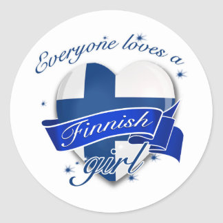 Everyone loves a Finnish Girl Classic Round Sticker
