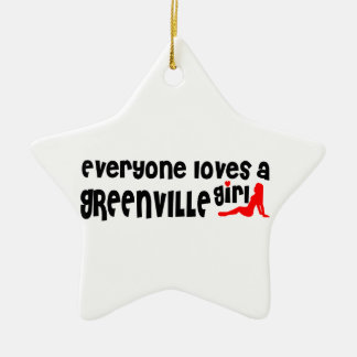Everyone loves a Greenville girl Double-Sided Star Ceramic Christmas Ornament