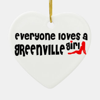 Everyone loves a Greenville girl Double-Sided Heart Ceramic Christmas Ornament