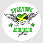 Everyone loves a jamaican girl round stickers