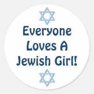 Everyone Loves A Jewish Girl Classic Round Sticker