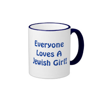 Everyone Loves A Jewish Girl Ringer Coffee Mug