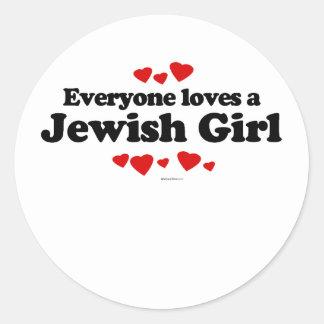 Everyone Loves a Jewish GIrl T-shirt Round Sticker