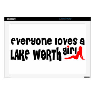 """Everyone loves a Lake Worth girl 17"""" Laptop Decal"""