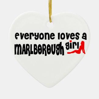 Everyone loves a Marlborough girl Double-Sided Heart Ceramic Christmas Ornament