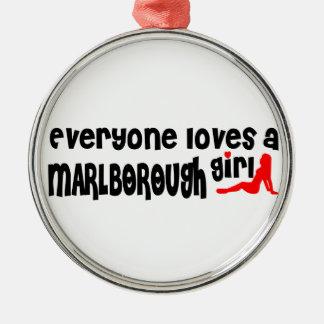 Everyone loves a Marlborough girl Round Metal Christmas Ornament