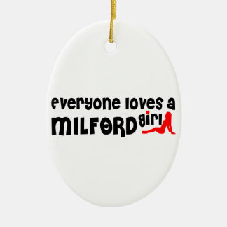 Everyone loves a Milford girl Double-Sided Oval Ceramic Christmas Ornament