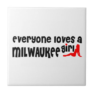 Everyone loves a Milwaukee girl Small Square Tile