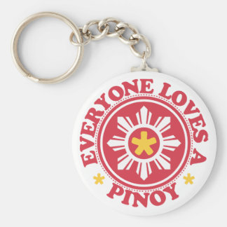 Everyone Loves a Pinoy - Red Basic Round Button Keychain