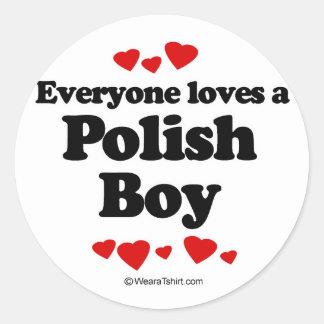 Everyone loves a Polish boy Classic Round Sticker
