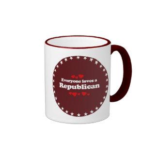 Everyone loves a Republican  (white) Ringer Coffee Mug
