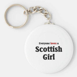 Everyone loves a Scottish Girl Basic Round Button Keychain