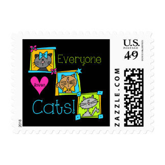 Everyone Loves Cats Postage Stamp