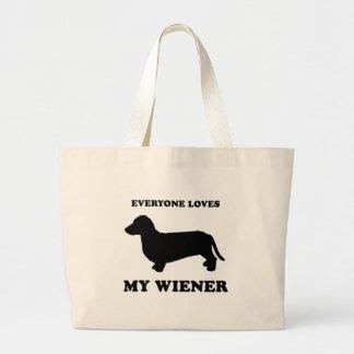 Everyone loves my wiener jumbo tote bag