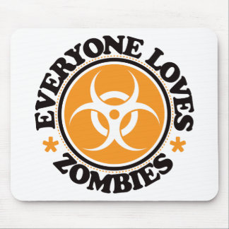 Everyone Loves Zombies - Orange Mouse Pad