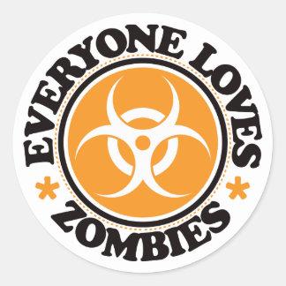 Everyone Loves Zombies - Orange Classic Round Sticker