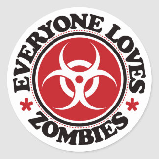 Everyone Loves Zombies - Red Classic Round Sticker