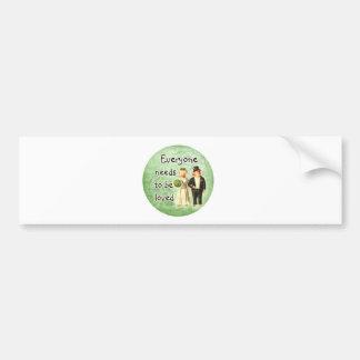 everyone needs love-- cute pig couple bumper sticker