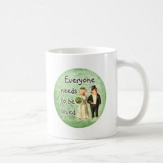 everyone needs love-- cute pig couple coffee mug