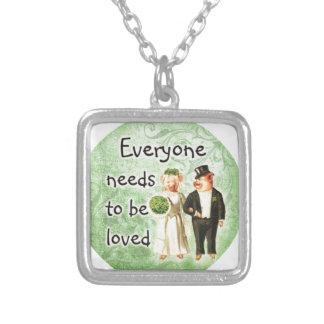 everyone needs love-- cute pig couple pendants
