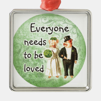 everyone needs love-- cute pig couple ornaments