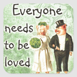 everyone needs love-- cute pig couple stickers