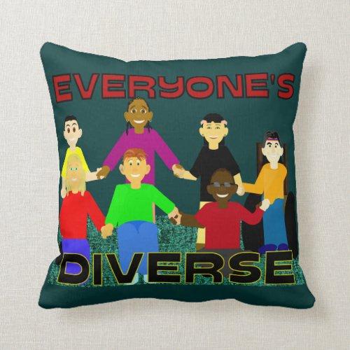 Everyone's Diverse Throw Pillow