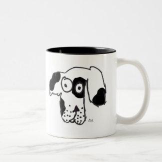 Everyone's dog black and white Two-Tone coffee mug